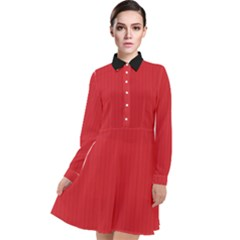 Amaranth Red & Black - Long Sleeve Chiffon Shirt Dress by FashionLane