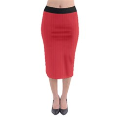 Amaranth Red & Black - Midi Pencil Skirt by FashionLane