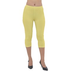 Arylide Yellow & Black - Lightweight Velour Capri Leggings  by FashionLane