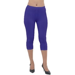 Berry Blue & White - Lightweight Velour Capri Leggings  by FashionLane