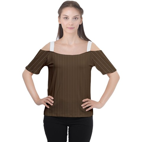Brunette Brown & White -  Cutout Shoulder Tee by FashionLane