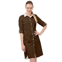 Brunette Brown & White -  Long Sleeve Mini Shirt Dress by FashionLane