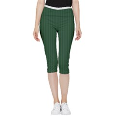 Eden Green & White - Inside Out Lightweight Velour Capri Leggings  by FashionLane