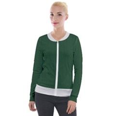 Eden Green & White - Velvet Zip Up Jacket by FashionLane