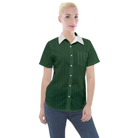 Eden Green & White - Women s Short Sleeve Pocket Shirt by FashionLane