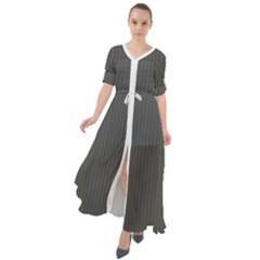 Beluga Grey & White - Waist Tie Boho Maxi Dress by FashionLane