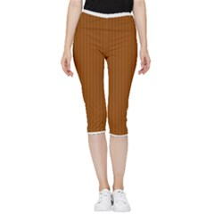 Rusty Orange & White - Inside Out Lightweight Velour Capri Leggings  by FashionLane