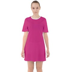 Peacock Pink & White - Sixties Short Sleeve Mini Dress