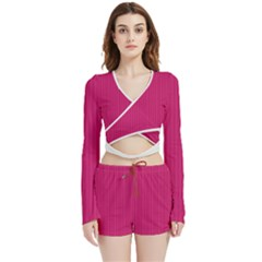 Peacock Pink & White - Velvet Wrap Crop Top And Shorts Set