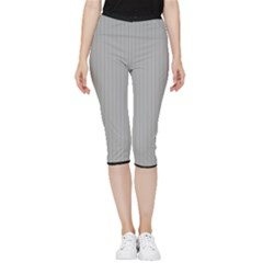 Chalice Silver Grey & Black - Inside Out Lightweight Velour Capri Leggings  by FashionLane