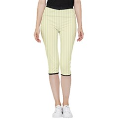 Creamy Yellow & Black - Inside Out Lightweight Velour Capri Leggings  by FashionLane