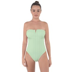 Tea Green & Black - Tie Back One Piece Swimsuit