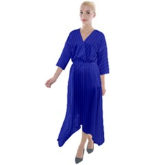 Admiral Blue & White - Quarter Sleeve Wrap Front Maxi Dress by FashionLane