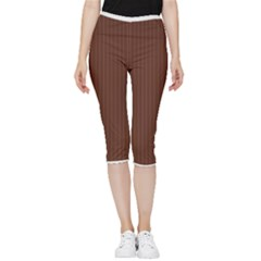 Emperador Brown & White - Inside Out Lightweight Velour Capri Leggings  by FashionLane