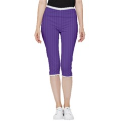 Spanish Violet & White - Inside Out Lightweight Velour Capri Leggings  by FashionLane