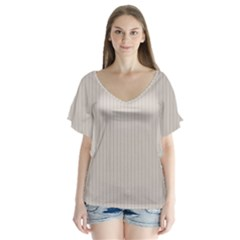 Abalone Grey & Black - V-neck Flutter Sleeve Top