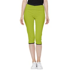 Acid Green & Black - Inside Out Lightweight Velour Capri Leggings  by FashionLane