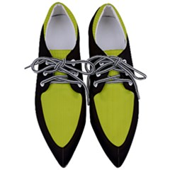Acid Green & Black - Pointed Oxford Shoes