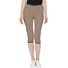 Beaver Brown & Black - Inside Out Lightweight Velour Capri Leggings  by FashionLane