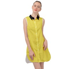 Maize Yellow & Black - Sleeveless Shirt Dress