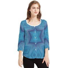 Blue Star Chiffon Quarter Sleeve Blouse