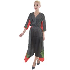 Tombstone Cemetery Dead Quarter Sleeve Wrap Front Maxi Dress