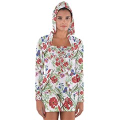 Flowers Pattern Long Sleeve Hooded T-shirt by goljakoff