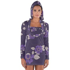 Purple Flowers Long Sleeve Hooded T-shirt by goljakoff