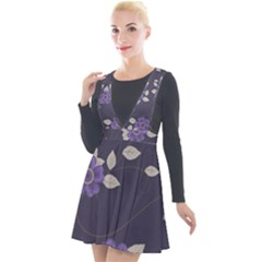 Purple Flowers Plunge Pinafore Velour Dress by goljakoff