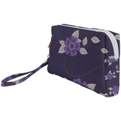 Purple Flowers Wristlet Pouch Bag (small) by goljakoff