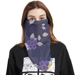 Purple Flowers Face Covering Bandana (triangle) by goljakoff