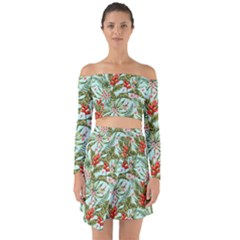 Tropical Flowers Off Shoulder Top With Skirt Set by goljakoff