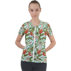 Tropical Flowers Short Sleeve Zip Up Jacket by goljakoff