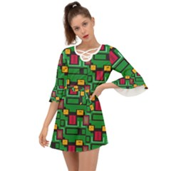 Rectangles On A Green Background                                                           Criss Cross Mini Dress