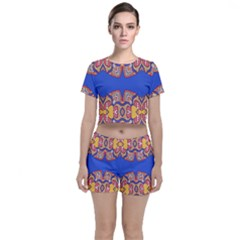 Yellow Red Shapes On A Blue Background                                                         Crop Top And Shorts Co-ord Set by LalyLauraFLM