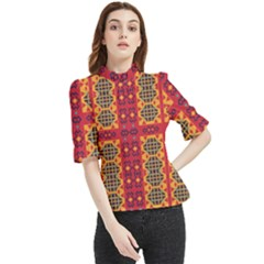 Shapes In Retro Colors2                                                          Frill Neck Blouse