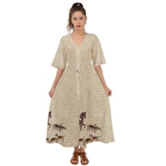 Foxhunt Horse And Hound Kimono Sleeve Boho Dress
