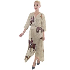 Foxhunt Horse And Hound Quarter Sleeve Wrap Front Maxi Dress by Abe731