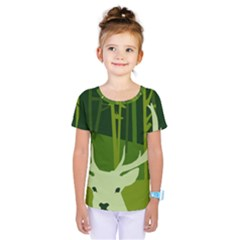 Forest Deer Tree Green Nature Kids  One Piece Tee