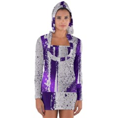 Purple Silver Long Sleeve Hooded T-shirt by Lotus