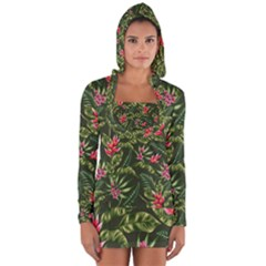 Tropical Flowers Long Sleeve Hooded T-shirt by goljakoff