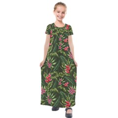 Tropical Flowers Kids  Short Sleeve Maxi Dress by goljakoff