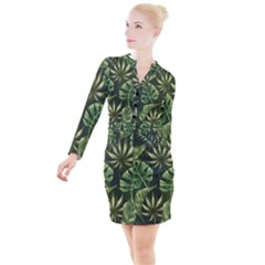 Green Leaves Button Long Sleeve Dress by goljakoff