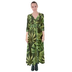 Green Leaves Button Up Maxi Dress by goljakoff