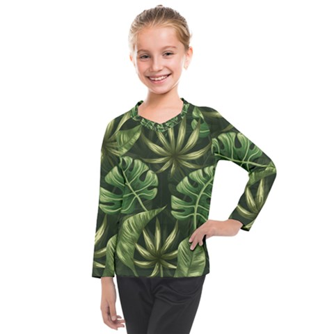 Green Leaves Kids  Long Mesh Tee by goljakoff