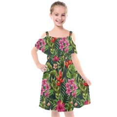 Tropical Flowers Kids  Cut Out Shoulders Chiffon Dress by goljakoff
