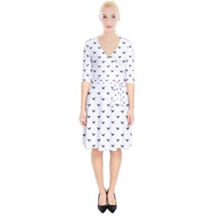 Birds Flying Motif Silhouette Print Pattern Wrap Up Cocktail Dress by dflcprintsclothing