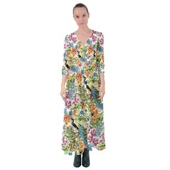 Peacock Pattern Button Up Maxi Dress by goljakoff