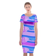 Fish Texture Blue Violet Module Classic Short Sleeve Midi Dress