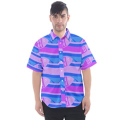 Fish Texture Blue Violet Module Men s Short Sleeve Shirt